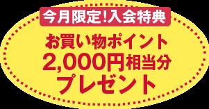 今月限定!入会特典 お買い物ポイント2,000円相当分プレゼント
