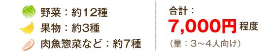 野菜:約12種 果物:約3種 肉魚惣菜など:約7種合計: 7,000円程度(量:3?4人向け)