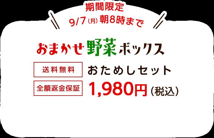 送料無料 金額返金保証 おまかせ野菜ボックス おためしセット 1,980円(税込) 今だけ桃プレゼント 期間限定7/6(月)朝8時まで