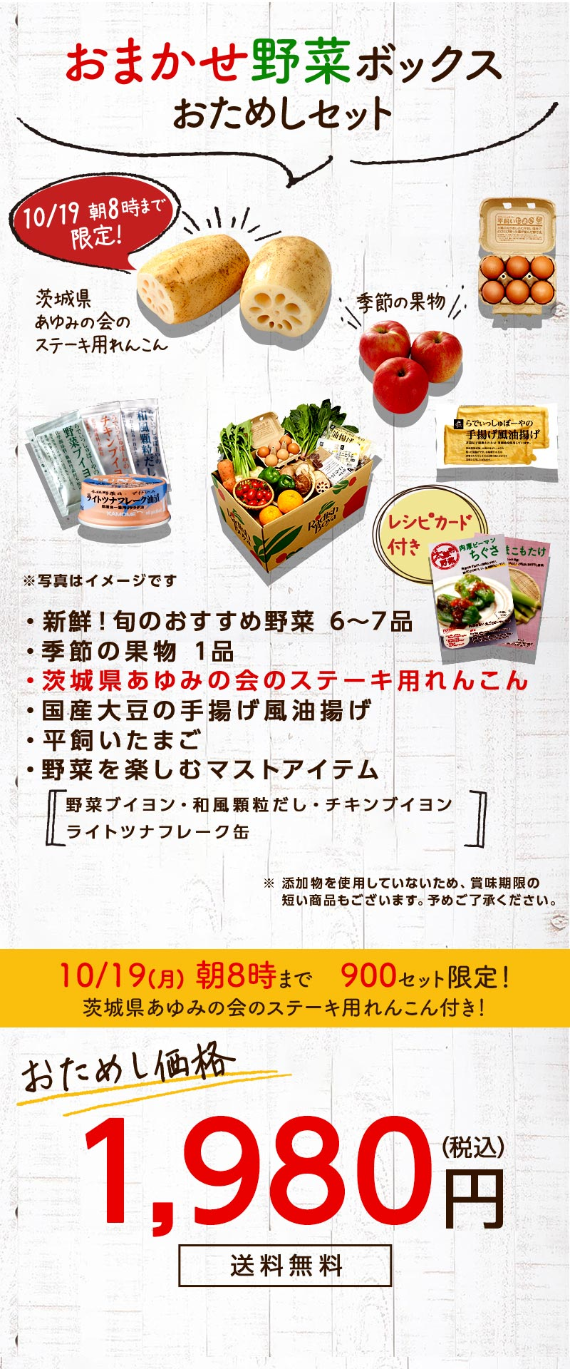 送料無料 金額返金保証 おまかせ野菜ボックス おためしセット 1,980円(税込) 期間限定9/21月)朝8時まで
